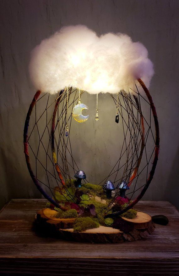 3d dreamcatcher, woodland decor, xl dreamcatchers, cloud light, night light, terrarium, nature deco