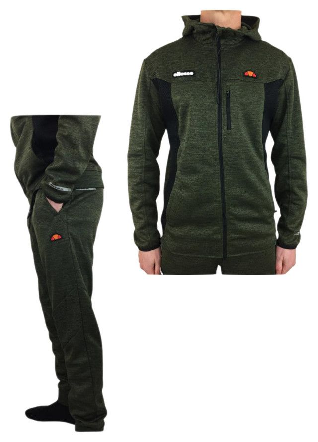 Ellesse Full Tracksuit With Hooded Top In Olive Dark