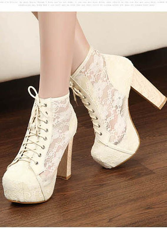 Sheer Lace Lacing Up Apricot Pumps Boots