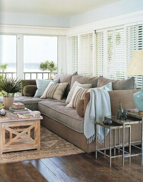 I love this coastal chic color palette with touches of aqua blue!  What a fantastic space!