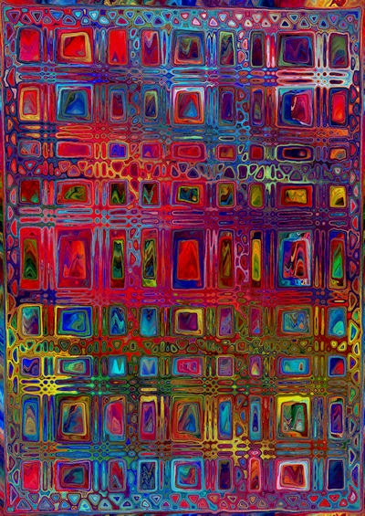 Textile Artist Made Panel Geometric Fiber Art by jacquedesigns, $14.99