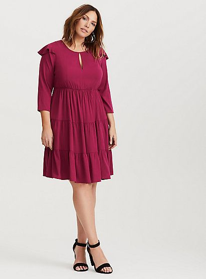 Wine Challis Tiered Skater Dress | Torrid | Pinterest | Dresses ...