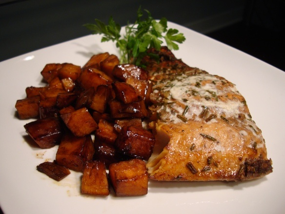 Rosemary Salmon with Glazed Balsamic Sweet Potatoes