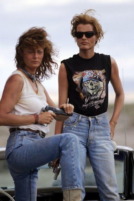 Thelma y Louise es una película de carretera de 1991 ideada y escrita por Callie Khouri, y dirigida por Ridley Scott, con Geena Davis haciendo el papel de Thelma y Susan Sarandon el de Louise. Otros protagonistas son Harvey Keitel en el papel de un detective que investiga los crímenes de las dos fugitivas, Michael Madsen como el novio de Louise,