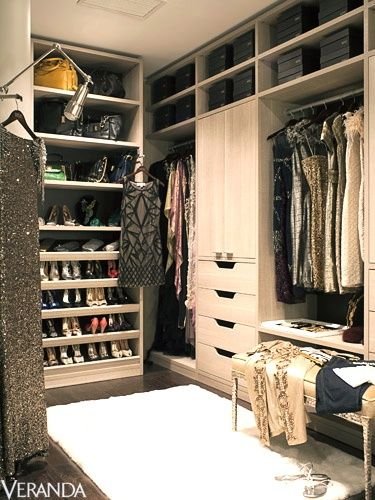 Veranda - closets - walk in closet, luxurious closet, floor to ceiling cabinets, ceiling height cabinets, shelves for shoes, Luxurious clos...