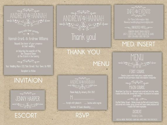 Vintage Wedding Invitation Collection -Printable DIY. printed country chic (1054), $80.00