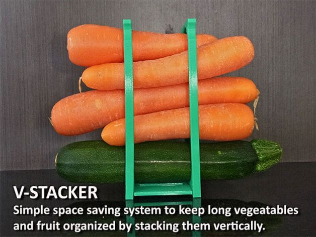 The V-Stacker is a simple system designed to save space and keep your long vegetables and bananas organized. Instead of these items ending up in a pile on the bottom of your fridge vege drawer the V-Stacker can be placed in the same area and stack them up vertically using what was previously unused / waste space. .  This is an easy to use system that some may find of use... three simple prints are required. 2 x Uprights and 1 x Joiner. Easy prints then just clip together (Refer to the…