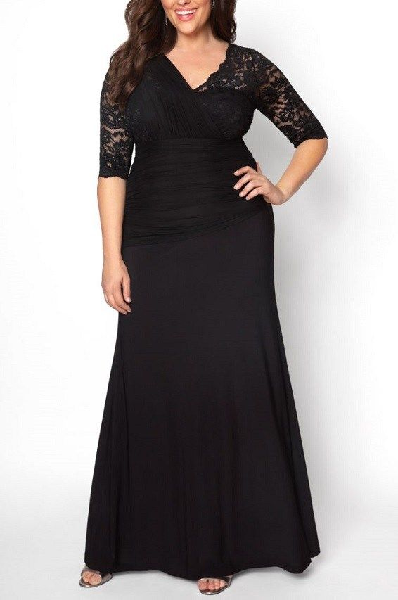 5b72d225044d Plus Size Black Lace Sleeve Maxi Evening Gown - Delicate mesh gathers over  a beautiful scalloped V-neck, giving this dress a unique one-shoulder  illusion.