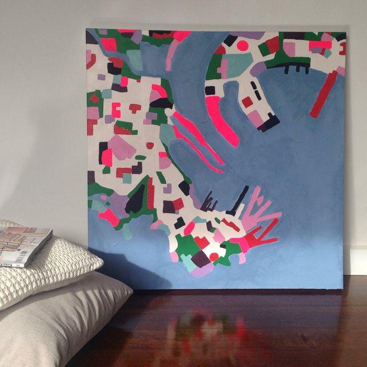 Aerial abstract painting (Daniela Kiss - Williamstown + Hobson's Bay, VIctoria Australia 76X76cm Acrylic on canvas)