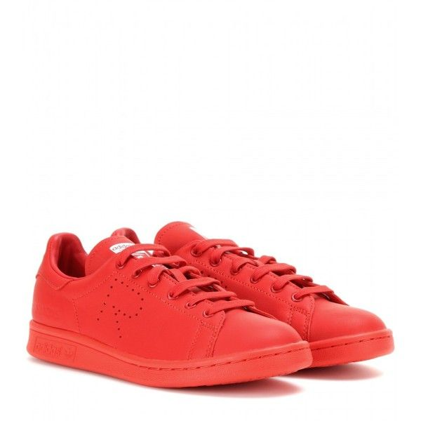 Adidas by Raf Simons Stan Smith Leather Sneakers ($225) ❤ liked on Polyvore featuring shoes, sneakers, adidas, red, adidas trainers, red shoes, leather shoes and adidas sneakers