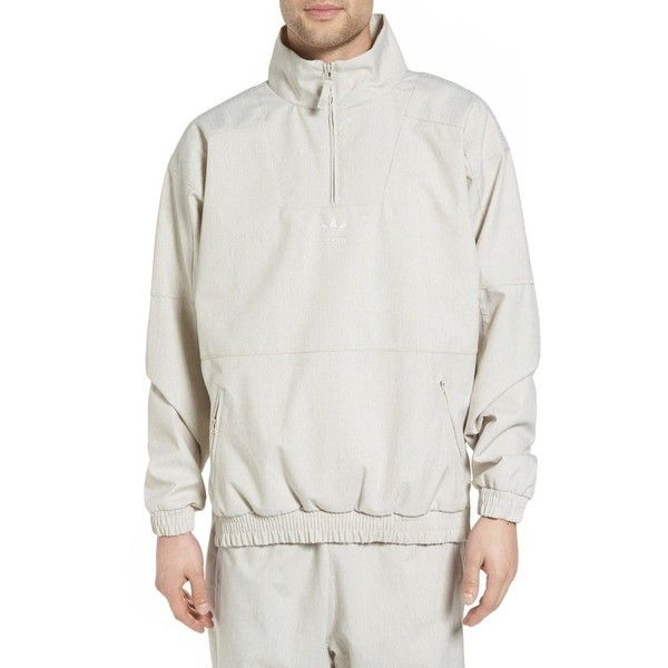 Men's Adidas Originals Orinova Windbreaker (€105) ❤ liked on Polyvore featuring men's fashion, men's clothing, men's activewear, men's activewear jackets, black melange, mens track tops, mens track jackets and mens activewear