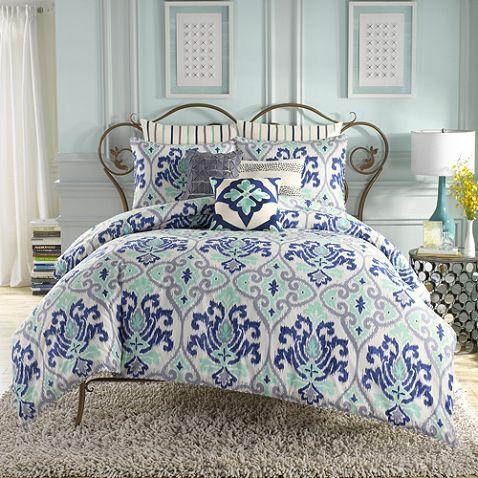 $150  #BedBath&Beyond Anthology™ Jolie Reversible Comforter Set in Blue