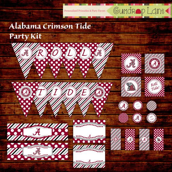 Alabama Crimson Tide Tailgate Party Kit  INSTANT by GumdropLane, $7.00