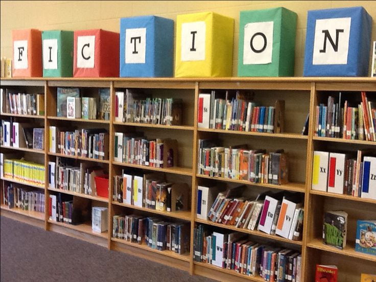 Fiction Section - Maybe one Fiction box on each shelf... Easy boxes and Biography box too...