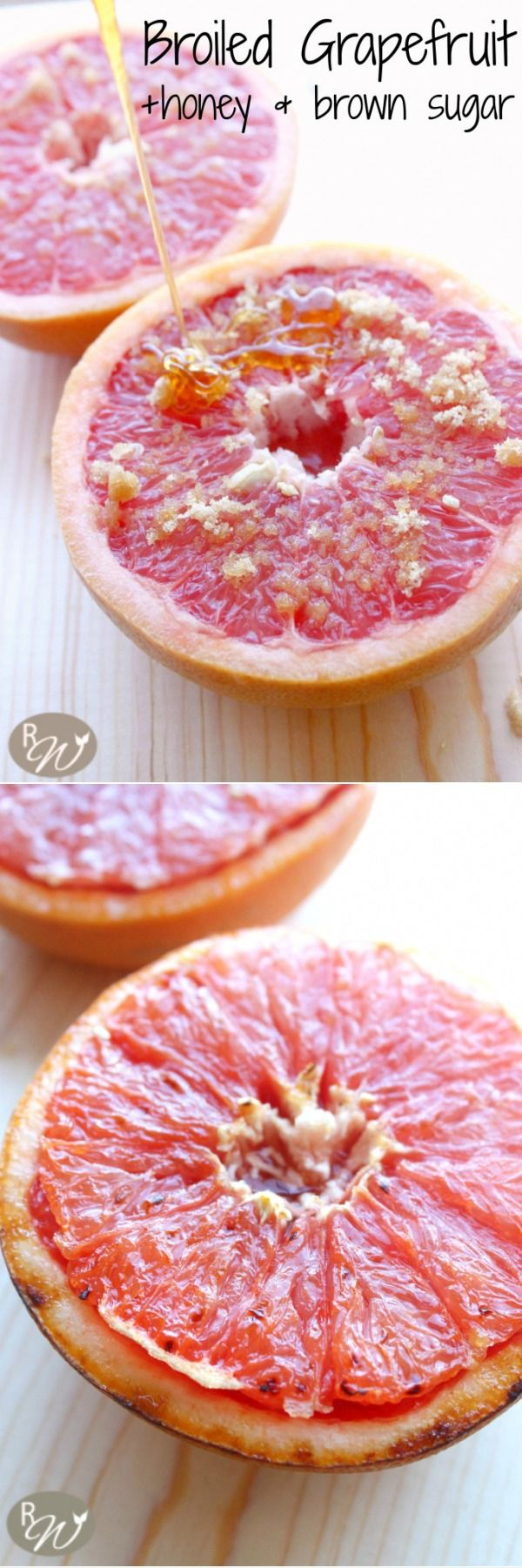 Change your grapefruit world with this recipe. Juicy grapefruit topped with brown sugar, cinnamon and honey and broiled to perfection. | therusticwillow.com #Healthy #Light