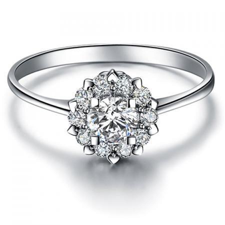 Rhinestone Plated Heart Ring