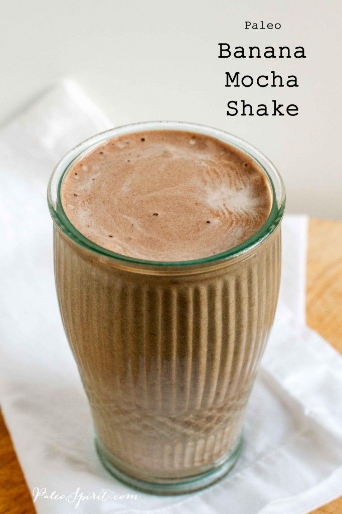 Paleo Banana Mocha Shake Ingredients 1 frozen banana, sliced 1/2 cup ice cubes 1/2 cup strong coffee** 2 tablespoons cocoa powder 1 tablespoon honey (optional) 1 tablespoon coconut butter (optional) small splash of vanilla extract (optional) Instructions: Place all ingredients in a blender and process until smooth.