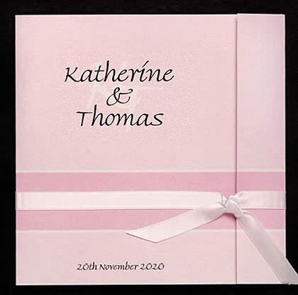 This wedding invitation design shown here in pink is also available in other colours.www.kardella.com