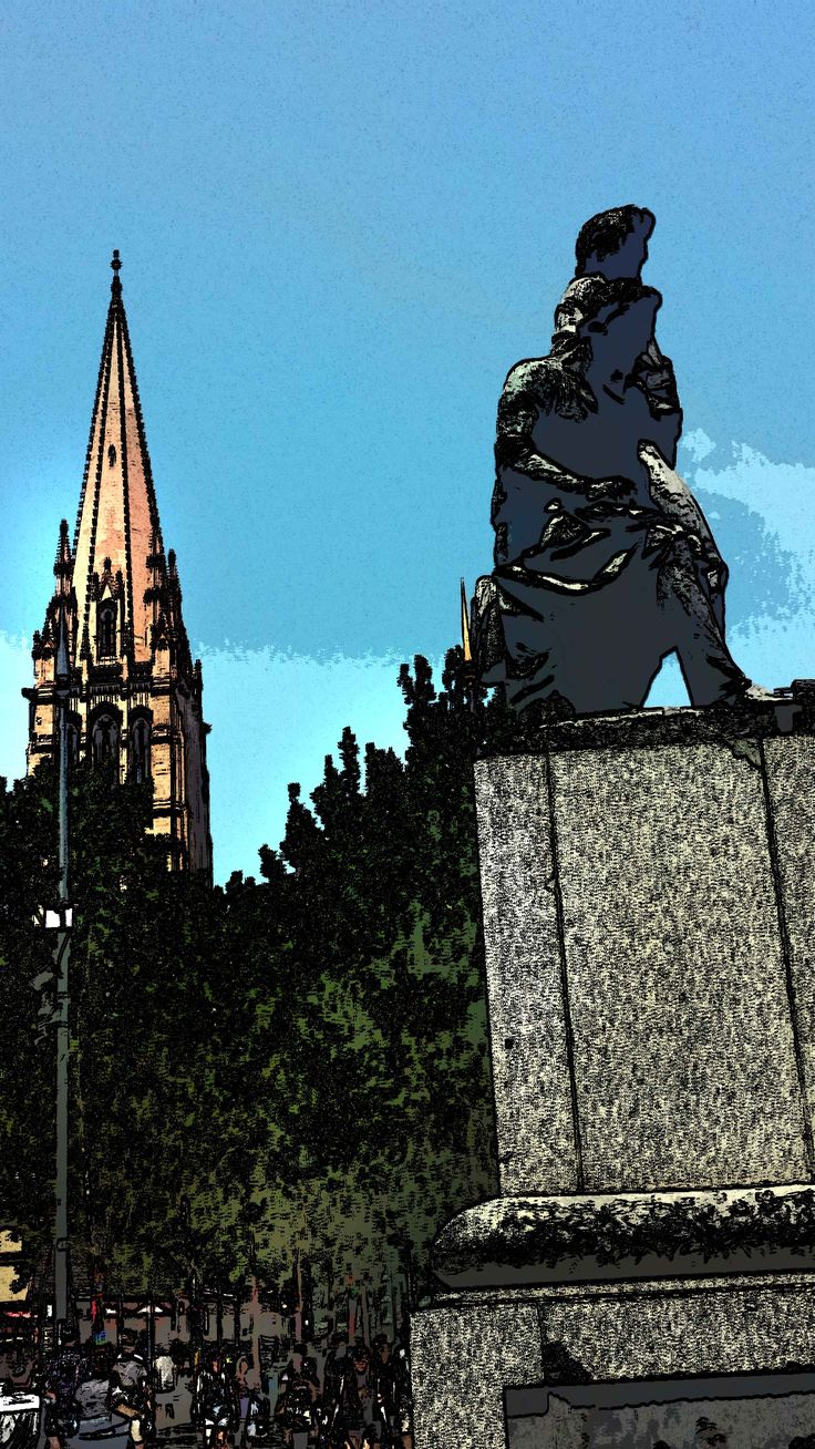 Burke & Wills statue, corn Collins & Swanston Streets - looking South towards St.Paul's Cathedral