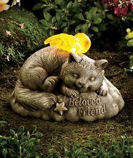 Solar Ceramic Cat Pet Memorial Garden Statue With Lighted Wings X X