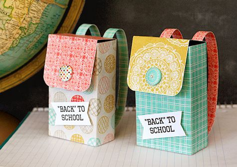 BACKPACK GIFT BOXES: You'll also need a small, recycled box (Crystal Light is a good size), sandpaper or sanding block, extra strength glue stick, corner rounder, and paper trimmer.