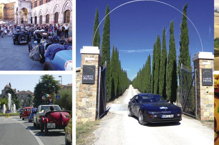 """Nuvolari in Siena (oben). Oldtimertreffen am Lago di Chiusi. Auf der """"strade bianca"""" zum Weingut bei Montalcino."""