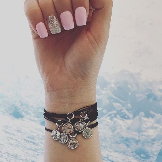 Pastel Pink Manicure | ALEX AND ANI Kindred Cord Pull Cord Bracelets |