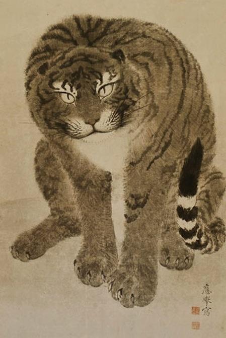 Tigers in a Landscape (detail) - Maruyama Ôkyo (1733-1795)