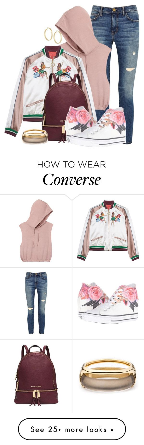 """""""BOMBER by DaNewMeh"""" by thchosn on Polyvore featuring Current/Elliott, RVCA, Michael Kors, Converse, Panacea and Alexis Bittar"""