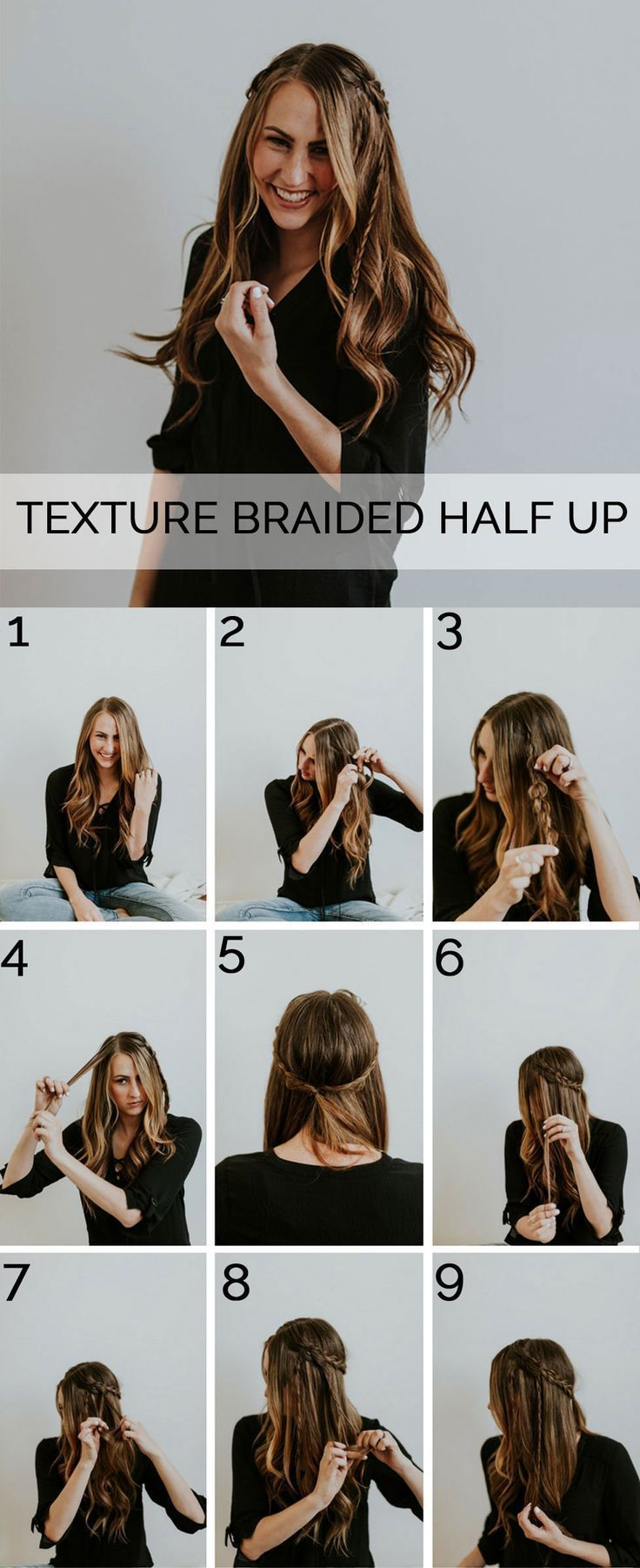 A step-by-step tutorial for how to achieve this boho-inspired textured braid up-do.