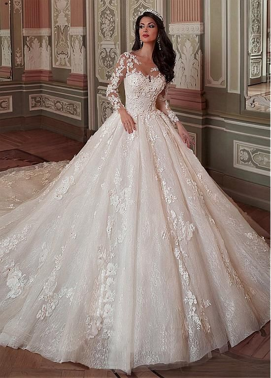 Fantastic Tulle & Lace Scoop Neckline Ball Gown Wedding Dress With Lace Applique…