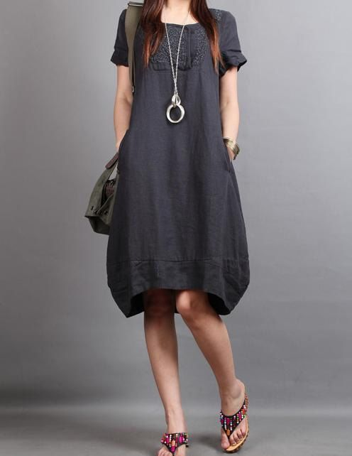 This dress looks so comfy!   Linen Chic short sleeved tunic dress by MaLieb on Etsy, $73.00