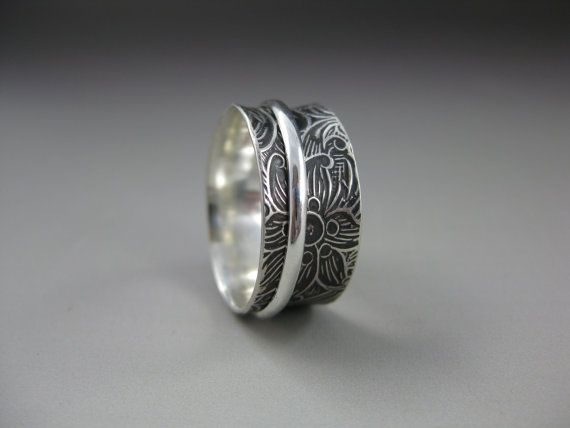 925 Sterling Silver Bear & Hearts Spinner Ring