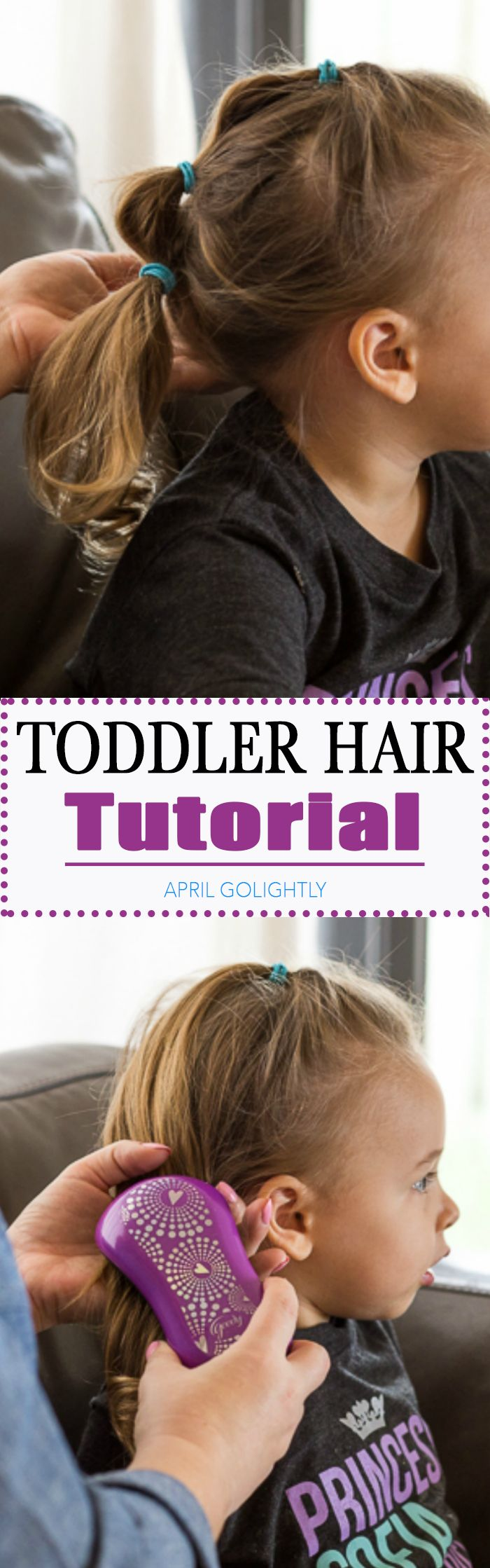 Easy Toddler Hairstyles for Girls with a step by step tutorial on how to make Jasmine inspired ponytail puffy hair look with Goody's New Tangle Fix Hair Brush