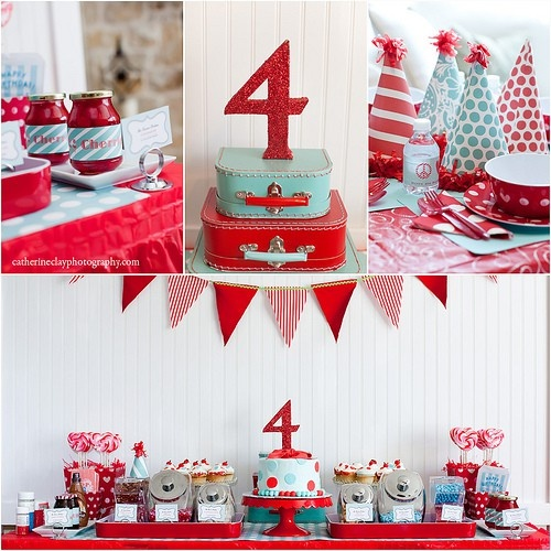 Red And Aqua Birthday Party.