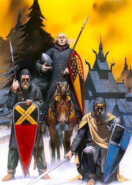 """Viking warriors, 12th century"", Angus McBride"