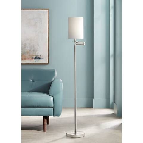 White Cotton Drum Brushed Nickel Finish Swing Arm Floor Lamp - #42316-00107 | Lamps Plus