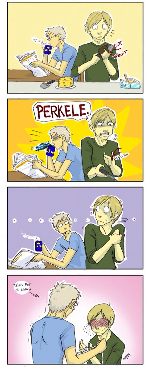 (Perkele means Devil in Finnish so Finny's basically dropping the bomb in front of his waifu XD) <<< XD