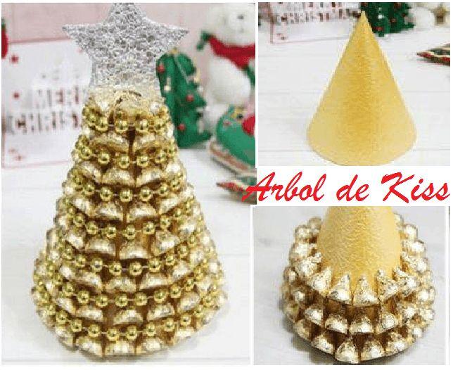 Con un simple cono de anime pintado en dorado y los - Decoracion navidad papel ...