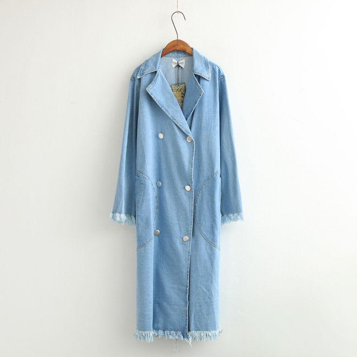 Oversized Fray Denim Long Jacket