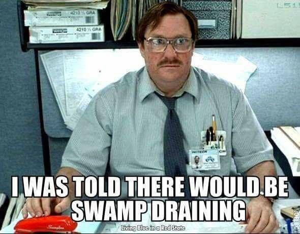 Still waiting for that swamp draining, Donald.