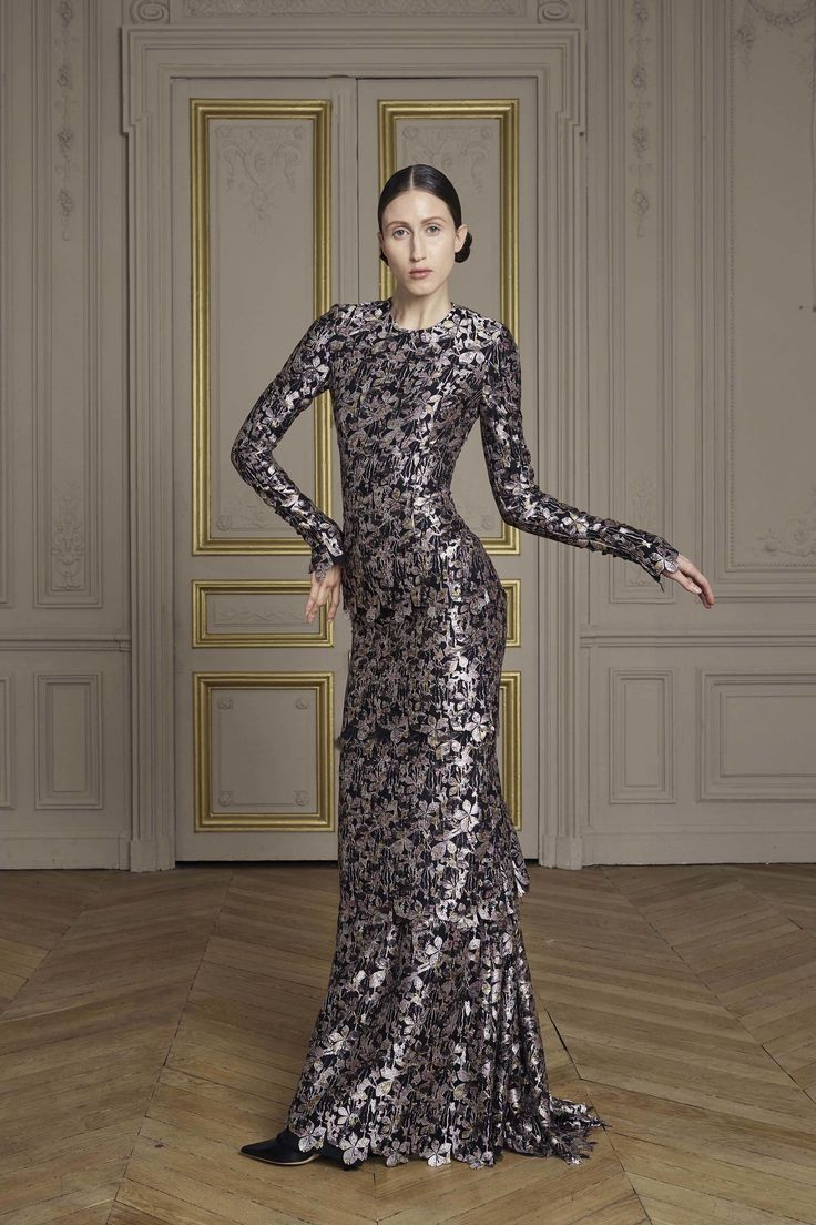 Giles Deacon | Fall 2016 Couture | 18 Silver floral long sleeve maxi dress