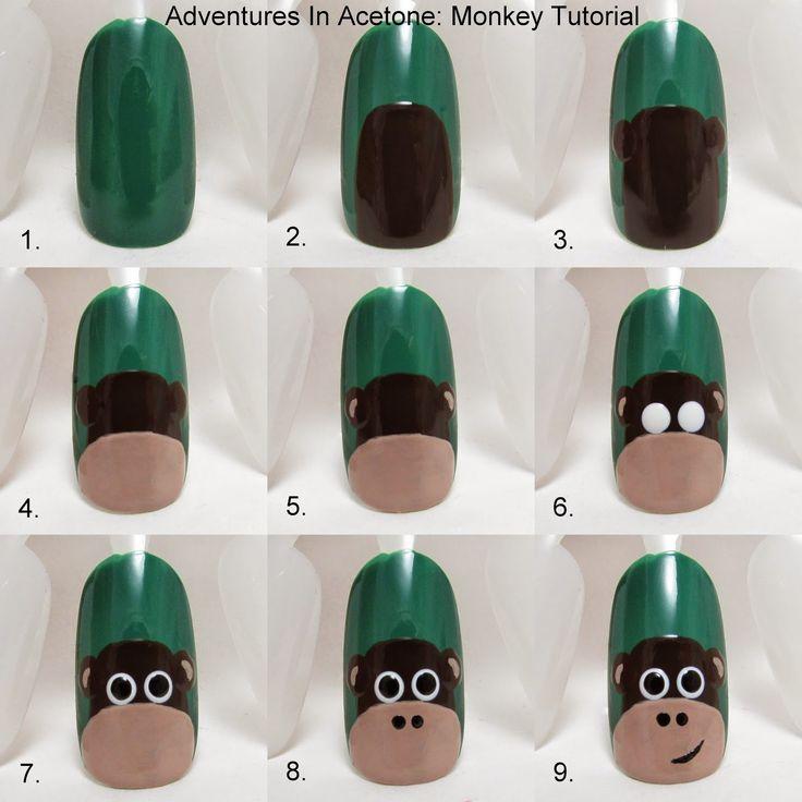 Tutorial Tuesday: Monkey Nail Art! - Adventures In Acetone