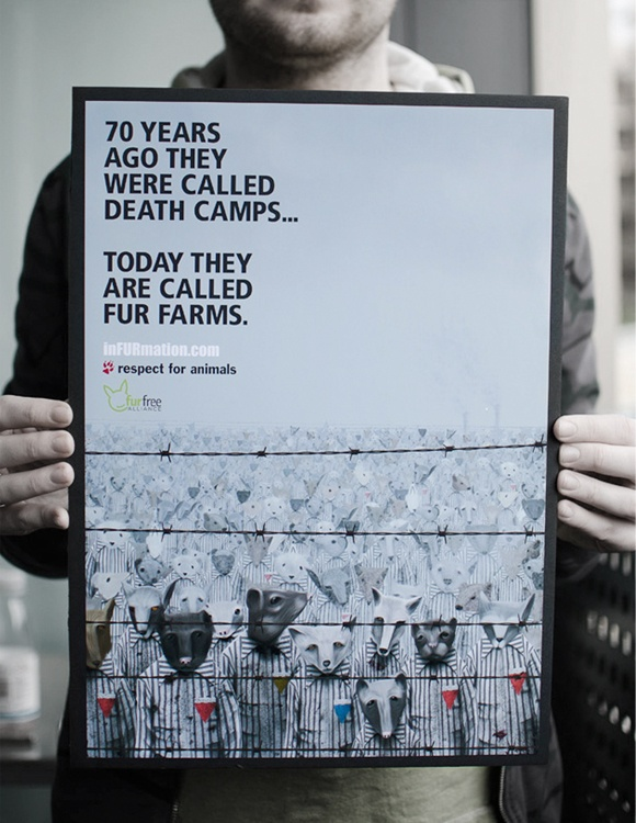 I think this poster design is really good because it takes something that happened to a select group of humans, which is very similar to what animals are being put through at the moment due to fur. The imagery is strong and the typography stands out.