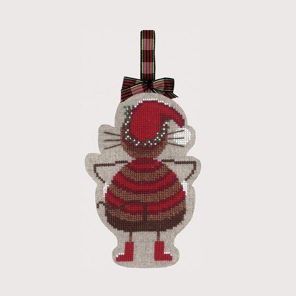 Chat Noël Bonheur des Dames décoration Noël à broder soi-même référence 2737 - Création Cécile Vessière