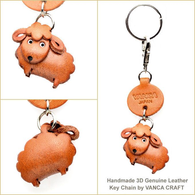 Sheep Japanese Leather Keychains Animal 【Animal Goods】【Made in Japan】【Small Keychain】 - HANDCRAFTED-LEATHER.COM 【vanca craft inc. online sto...