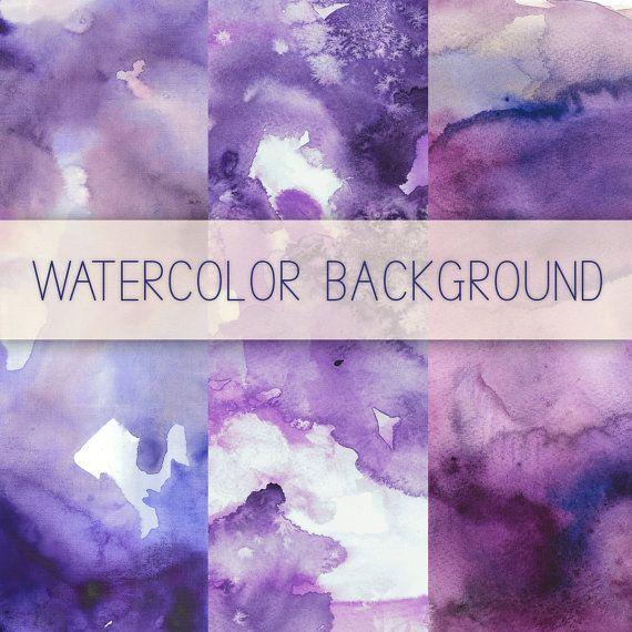 Purple Watercolor Digital Background, Digital Paper Pack Clipart, Watercolor Background Lavender, Watercolor Texture for Scrapbooking