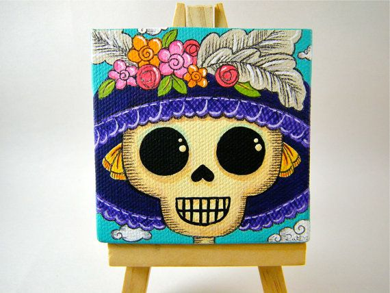 La Catrina Canvas Painting by MyMayanColors on Etsy  Original Art by My Mayan Colors (Ruth Barrera). All images are the sole property of My Mayan Colors and not intended for copy