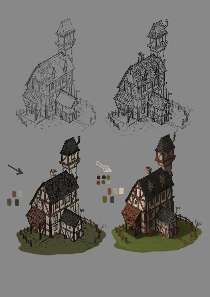 Isometric Fantasy Building, Janos Csernik on ArtStation at https://www.artstation.com/artwork/6kmk5