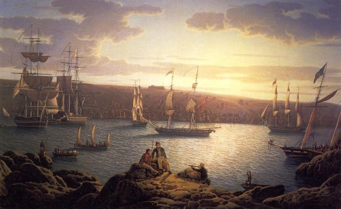 Royal Naval Vessels off Pembroke Dock, Milford Haven by Robert Salmon #art